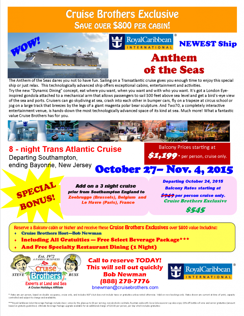 Anthem BN Cruise 10-27-15 8nt with Bonus as of 3-16-15